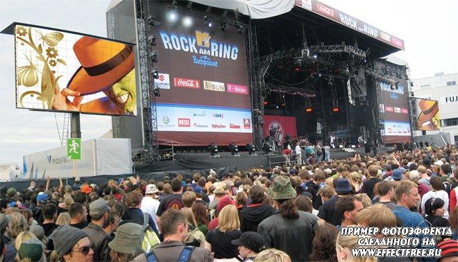 Оказаться на мониторах на рок концерте, сделать эффект онлайн
