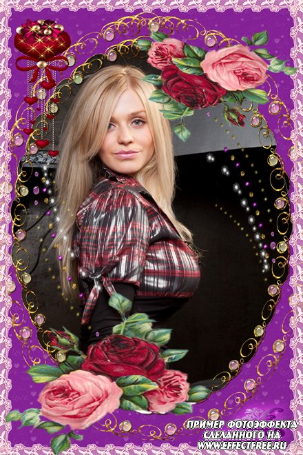 Сиреневая рамочка с розами, вставить фото в рамку онлайн