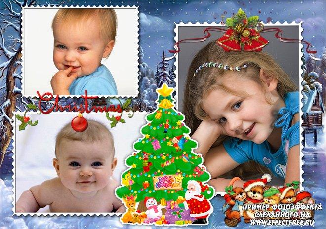 Красивая рождественская рамочка, сделать онлайн