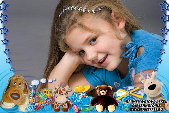 Детская рамочка со зверушками, вставить фото онлайн