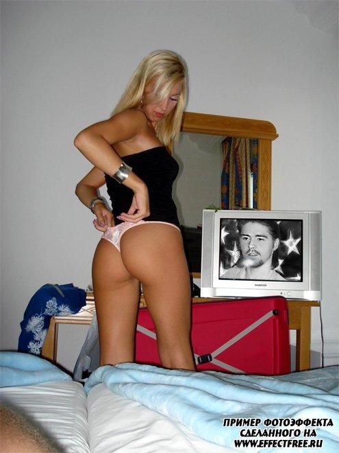 Фотоэффект на экране телека в спальне у девушки, сделать онлайн