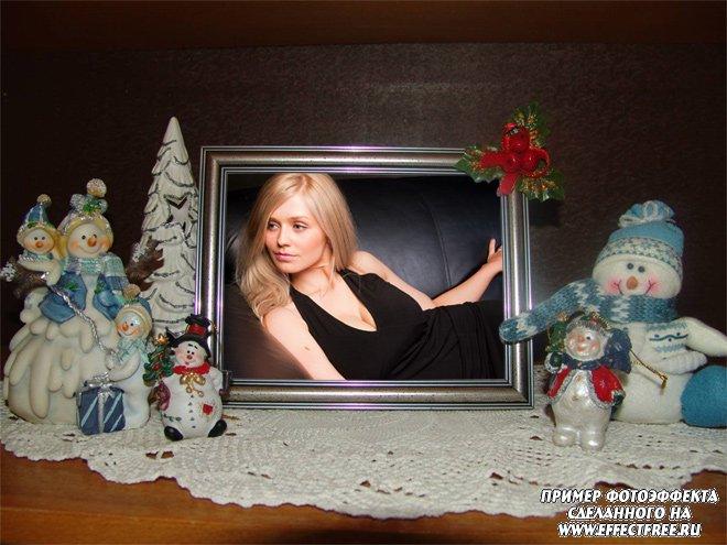 Новогодний фотоэффект со снеговиками, сделать онлайн