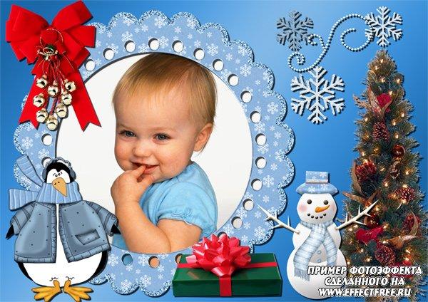 Новогодняя детская рамочка с елочкой и снеговиком, вставить фото онлайн