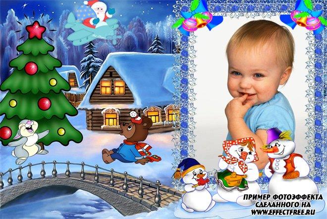 Красивая детская рамка со снеговиками, сделать онлайн фотошоп