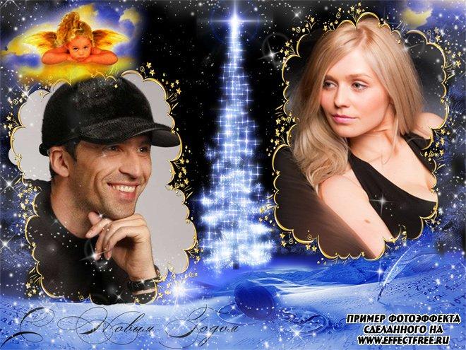 Зимняя рамка на два фото с ангелом, вставить фото онлайн