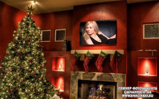 Эффект с фото в рамке на стене с елкой, вставить фото онлайн