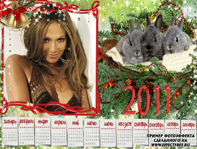 Календарь с фото на 2011 год с кроликами, вставить фото онлайн