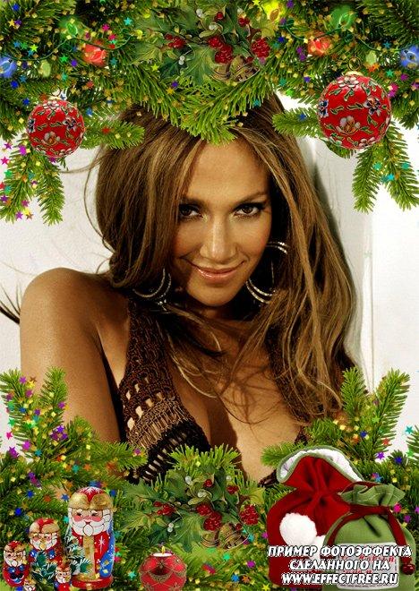 Новогодняя, рождественская рамка с еловыми ветками, сделать онлайн