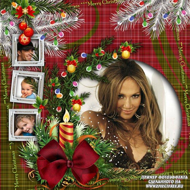 Рамка на 4 фотографии рождественская, сделать в онлайн редакторе