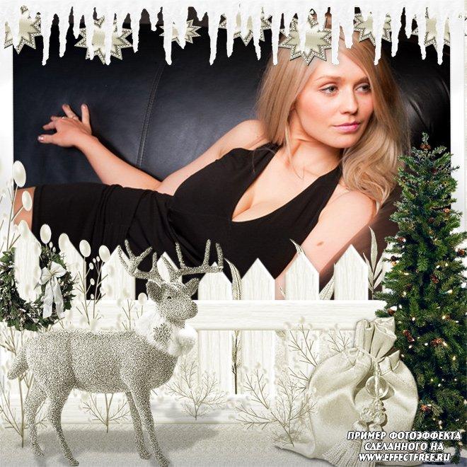 Рождественская рамка с оленем и елочкой, сделать онлайн фотошоп