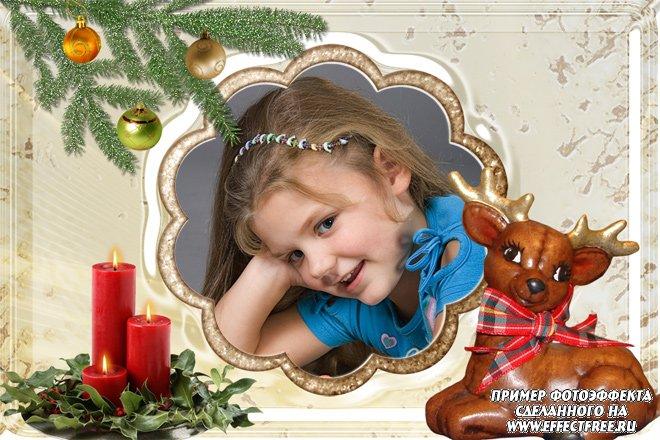 Детская рамочка для фото с симпатичным олененком, вставить в онлайн фотошопе