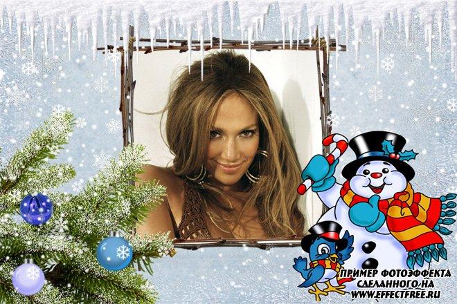 Зимняя рамка для фото с веселым снеговиком, вставить в онлайн фотошопе