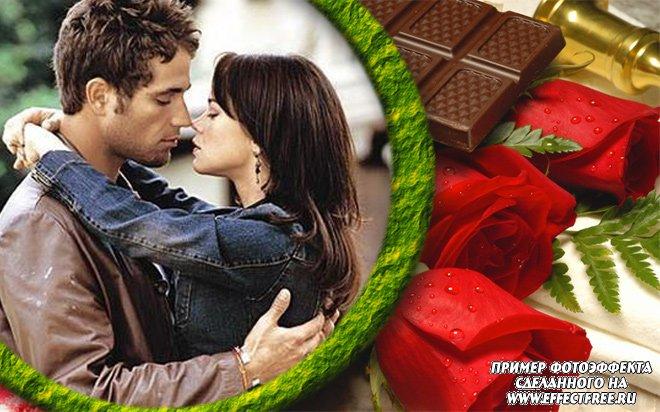 Рамка для фото с розами и шоколадом, сделать онлайн