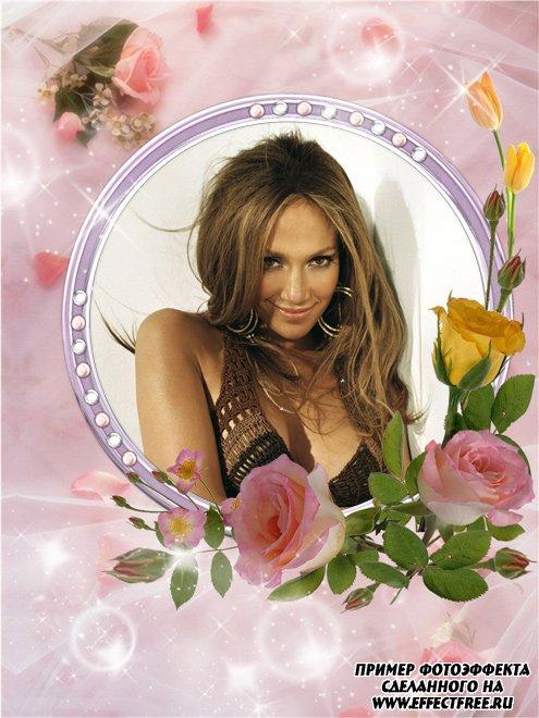 Рамка для женщин с букетом цветов, вставить в онлайн фотошопе