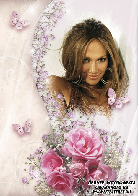 Нежная рамочка для фото с букетом роз, сделать онлайн фотошоп