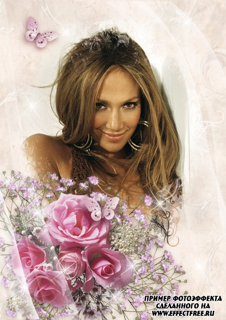 Рамка в розовых тонах с букетами роз, сделать онлайн фотошоп