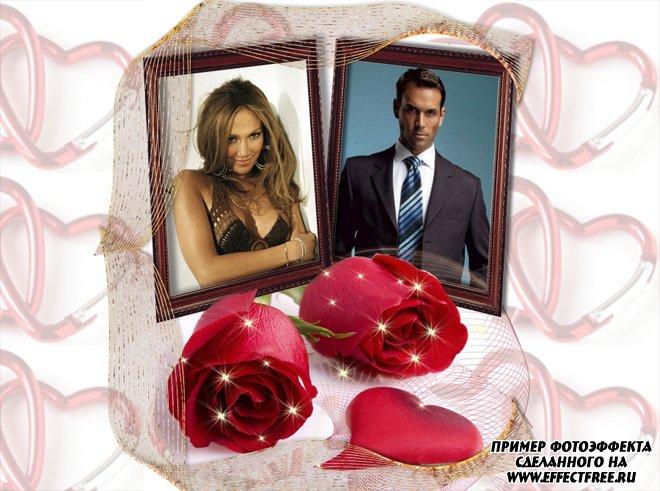Рамка с розами для влюбленных сделать онлайн