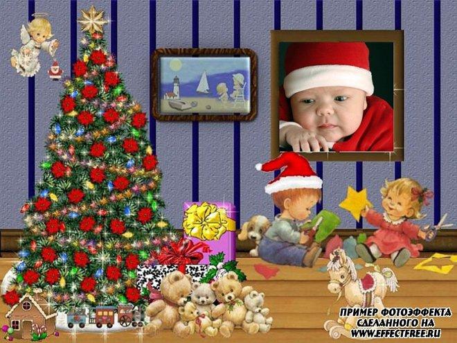 Новогодняя детская рамочка сделать онлайн