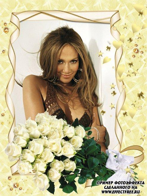 Рамочка для женщин с цветами, вставить в онлайн фотошопе