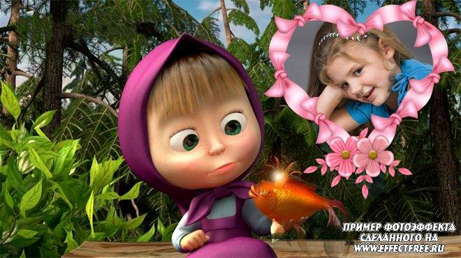 Детская рамочка для фото с Машей из мультика Маша и медведь, вставить фото в рамку онлайн