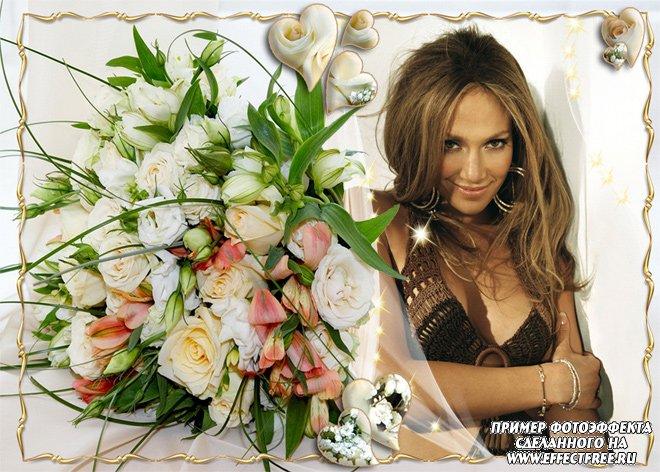 Рамка для фотографий с великолепным букетом роз, вставить в онлайн фотошопе