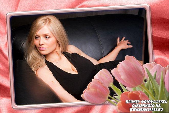 Красивая рамочка для фото с тюльпанами, сделать в онлайн редакторе