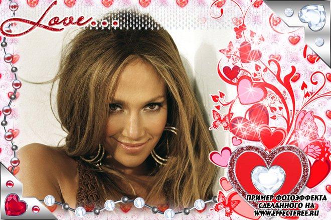 Рамка для фото валентинка для влюбленных с сердечком, вставить фото в рамку онлайн