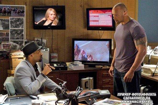 Фото в кадре фильма Быстрее пули с Дуэйном Джонсоном, сделать онлайн