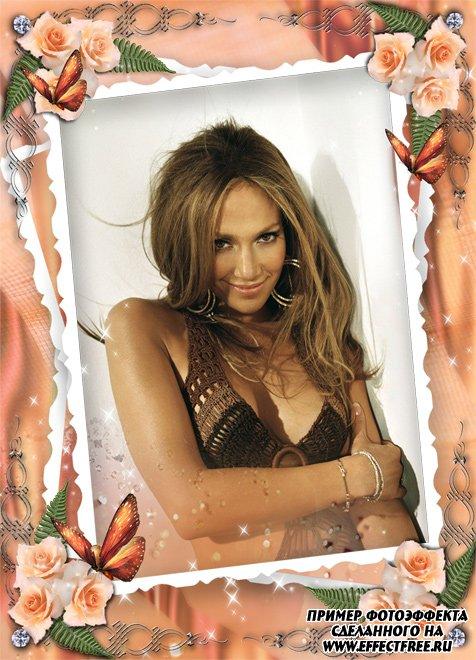 Рамочка для фото с розами и бабочками для женщин, сделать онлайн фотошоп