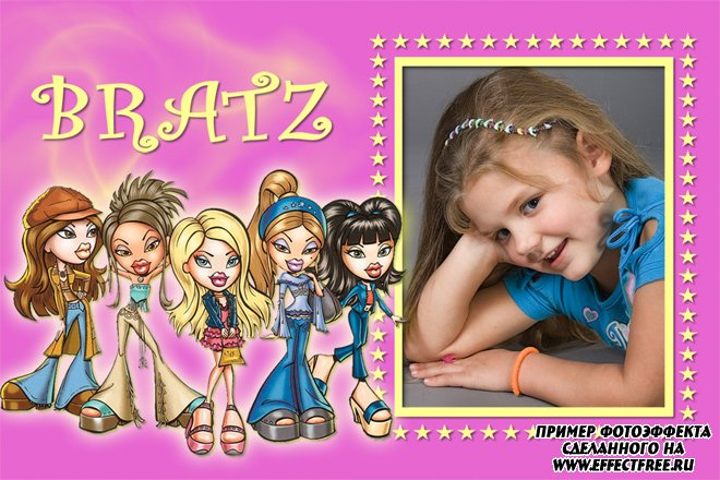 Рамка с куклами Bratz для девочек, сделать онлайн