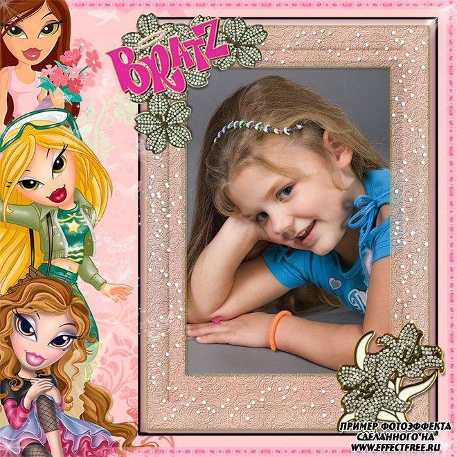 Рамочка для фото для девочек с куклами Братс, вставить фото в рамку онлайн