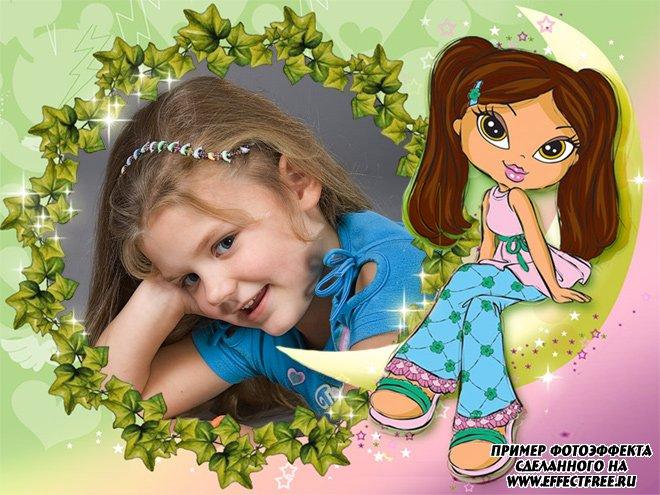 Рамка для девочек с обрамлением зелеными листьями и куклой, сделать онлайн