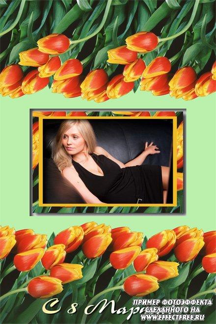 Рамка на 8 марта с красными тюльпанами, вставить фотов рамку онлайн