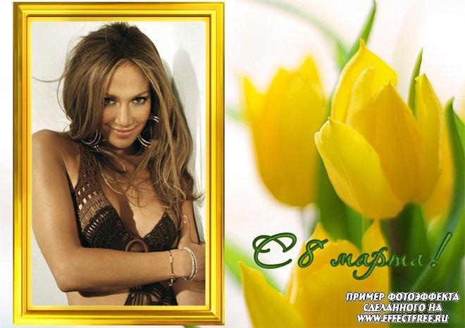 Рамочка с тюльпанами на праздник весны 8 марта, вставить онлайн