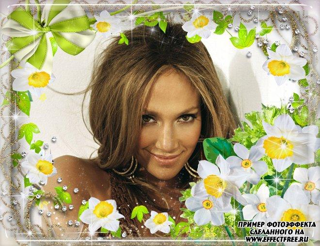 Рамочка для фото к 8 марта с прекрасными цветами, вставить фотов рамку