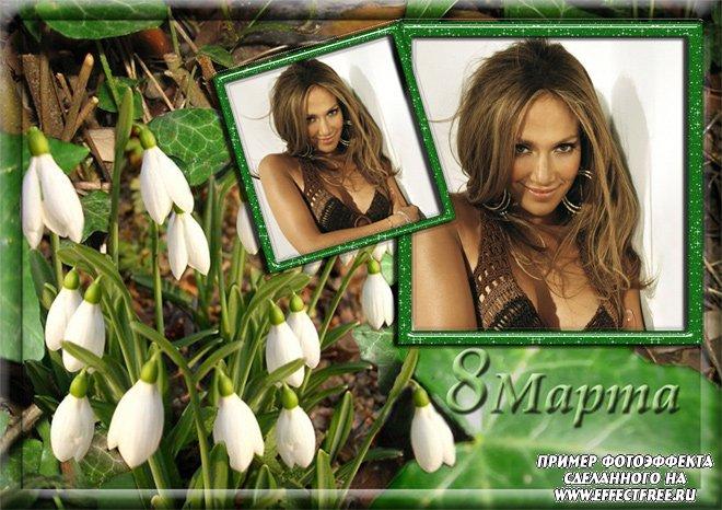 Рамочка с цветами на 2 фото к 8 марта, вставить фотов рамку