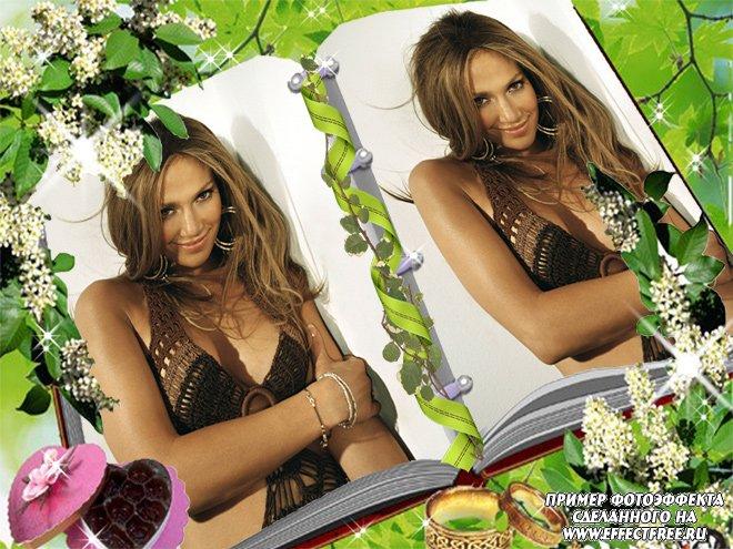 Рамочка на 2 фото в книжке с цветами, сделать онлайн фотошоп