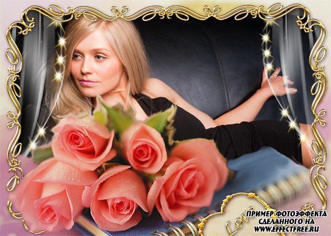 Рамочка для женщин с букетом алых роз, сделать онлайн фотошоп