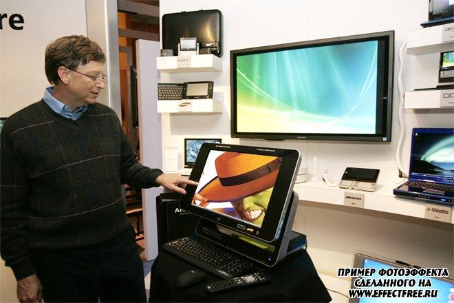 Фотоколлаж онлайн с Биллом Гейтсом на мониторе, сделать онлайн
