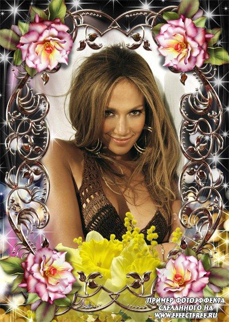 Рамочка для фото с орхидеями и другими цветами, вставить фотов рамку