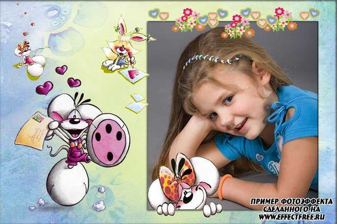 Детская рамочка для фото с дидлами, вставить в онлайн фотошопе