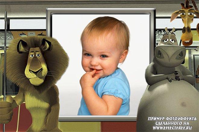 Детские рамочки, с бегемотом , львом и жирафом из мультфильма Мадагаскар сделать онлайн