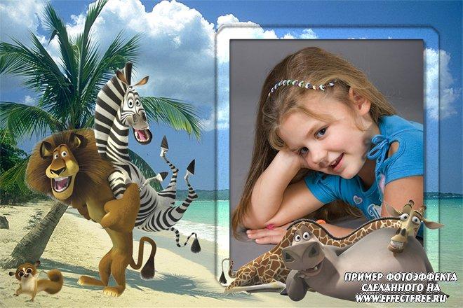 Вставить фото в рамку с героями Мадагаскара на пляже, сделать онлайн