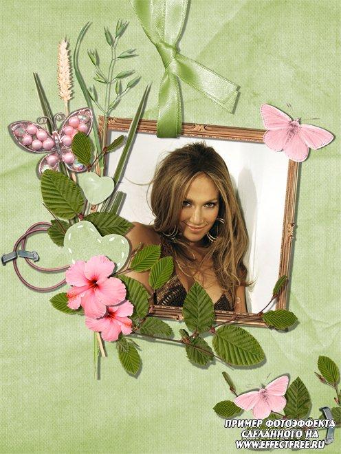Рамочка с цветами и розовыми бабочками, вставить фото в картинку