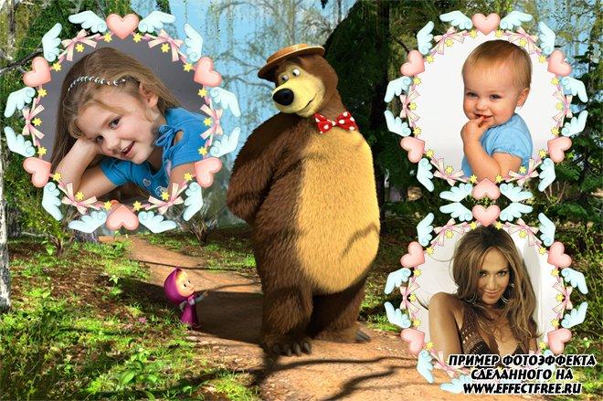 Рамки для фото детские на 3 фотографии с Машенькой и медведем, сделать онлайн