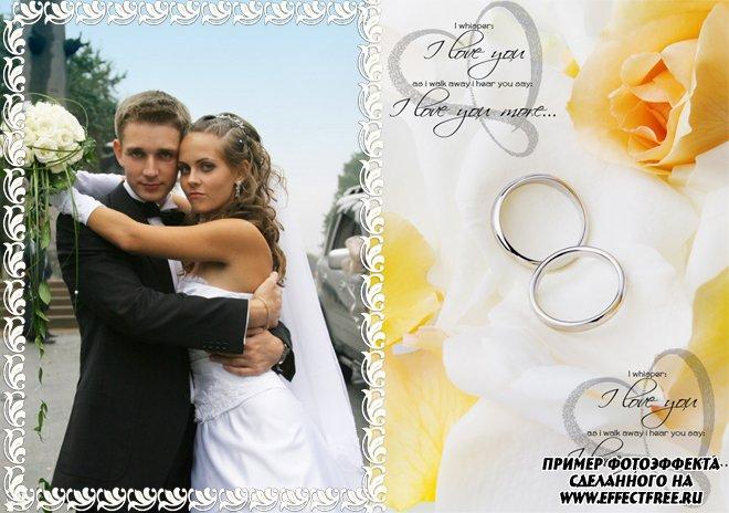 Фотошоп онлайн рамки свадебные с розами и кольцами, вставить фото в рамку