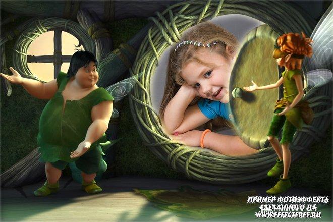 Вставить детское фото в рамку для девочек со сказочными феями, сделать онлайн фотошоп