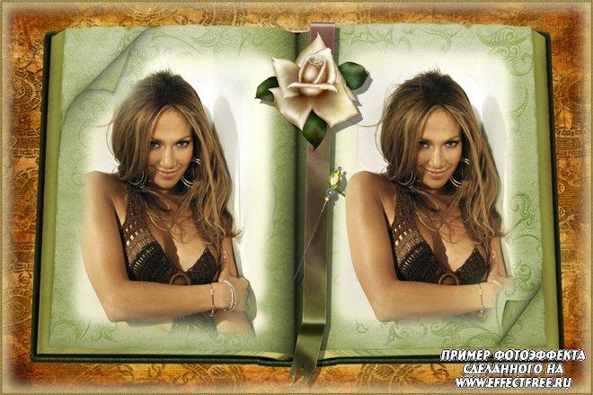 Фотоэффекты для фотографий онлайн на 2 фото в старой книжке, сделать онлайн