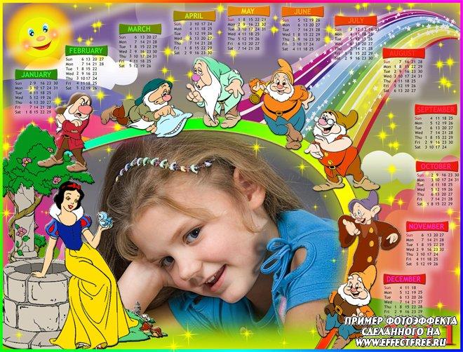 Фотошоп онлайн календари рамки с Белоснежкой и гномами, сделать в онлайн редакторе