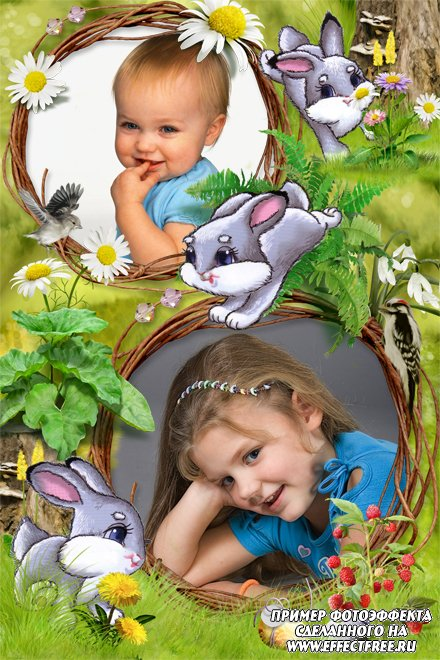 Вставить 2 фото в рамку с зайчатами на лужайке, сделать онлайн фотошоп